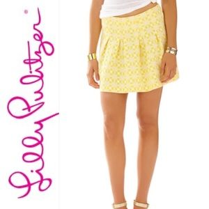 Lilly Pulitzer Mini Skirt Yellow Floral Size 6